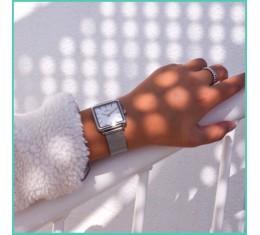 IKKI horloge zilver/parel wit