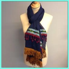 Bohemian sjaal donkerblauw