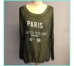 T-shirt Paris olijfgroen