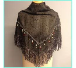Ibiza sjaal grijs met kraaltjes