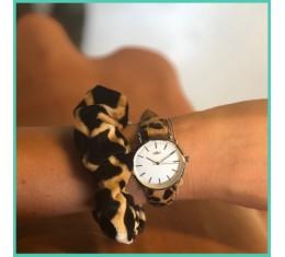 IKKI horloge leopard/zilver
