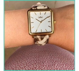IKKI horloge bruin snake/goud